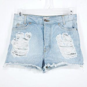 BRANDY MELVILLE High Waist Jean Shorts Light Sz 28